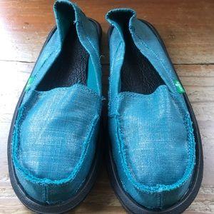 Sanuk canvas shiny teal slip on shoes
